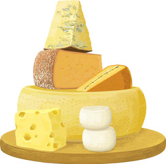 Group of various cheese over white background