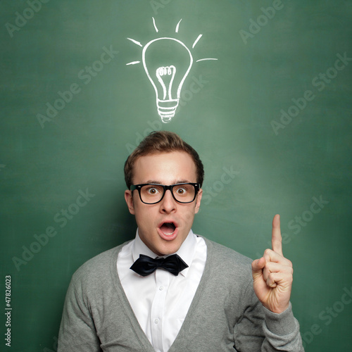 Man at the Blackboard with Idea