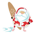 Extreme Santa surfer