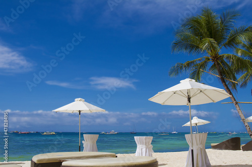 tropical beach seascape with blue sky