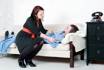 Woman take care of her sick man