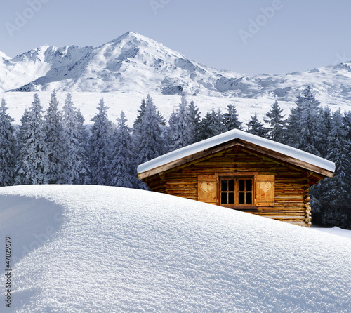 Leinwandbilder,hütte,alm,log cabin,winterurlaub