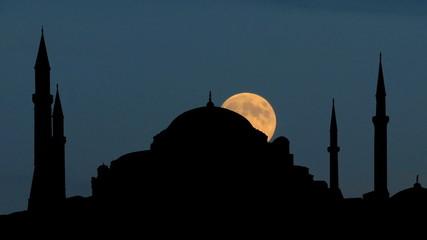 Turkey Hagia Sophia moonrise