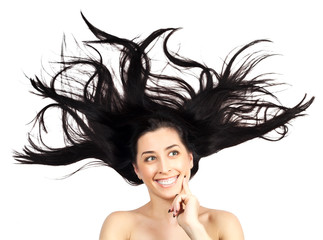 Young woman with long splayed hair. isolated