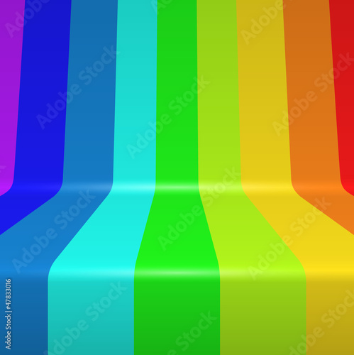 Colorful spectrum painted bent vertical stripes