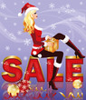 Christmas sale card with santa girl and giftbox