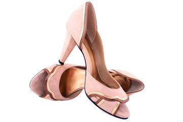 isolated high-heeled beige shammy shoes