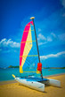 Sailboat at the ocean coast, Saint Lucia, Caribbean Islands