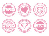set of stamps for Valentine's day