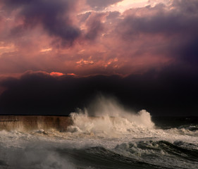 Storm under red sunset