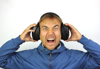 screaming man with headphones
