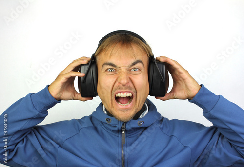 screaming man with headphones