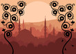 Vintage Arabic city landscape background