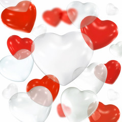 Red and white transparent heart-shaped balloons