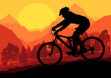 Mountain bike riders in wild forest mountain nature landscape ve