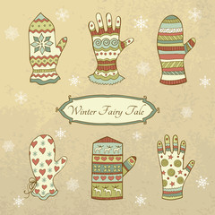 Vector set with mittens and gloves