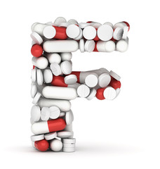 Letter F, alphabet from pills