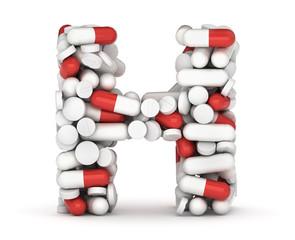 Letter H, alphabet from pills