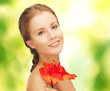 beautiful woman with red lily flower