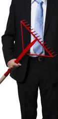 Manager holding a rake as a metaphor
