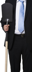 Manager holding spade