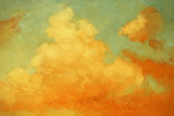 sunset sky and clouds over the sea, illustration, painting by oi
