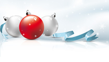 Christmas background, red bauble, snow