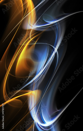 Abstract gold and blue fractal waves on black background