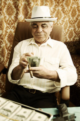 old man with money