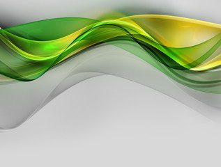Elegant green and yellow fractal waves