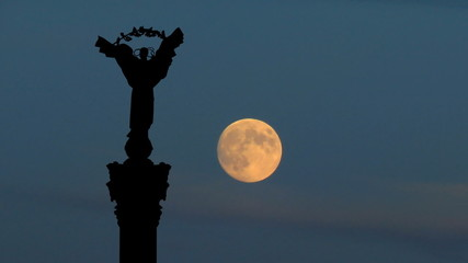 Ukraine Independence monument Kiev moonrise