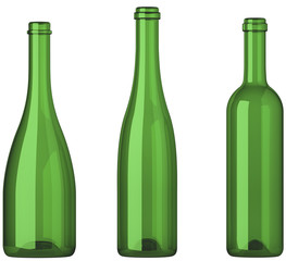 Three empty uncorked bottles for wine isolated