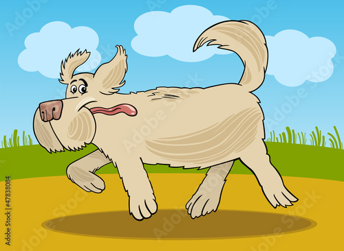 Aluminium Honden Running sheepdog dog cartoon illustration