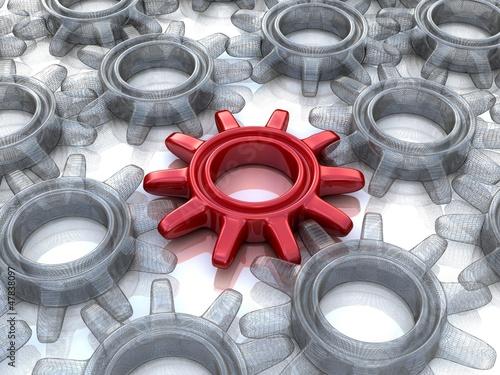 3d gears. Work concept.