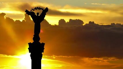 Ukraine Independence monument Kiev sunrise