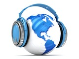 3d Earth globe with headphones.