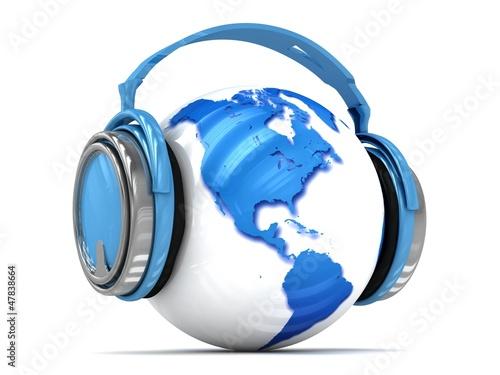 3d Earth globe with headphones.