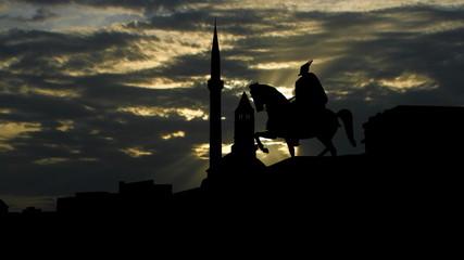 Albania Tirana Skanderbeg platz sun passing