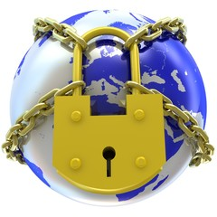 Earth globe close in chain and padlock
