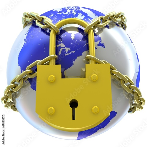 Earth globe close in chain and padlock