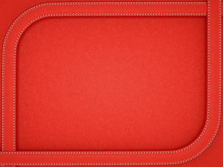 Red leather background with rounded stitched frame