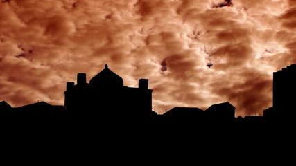 Azerbaijan Ateshgah of Baku orange clouds