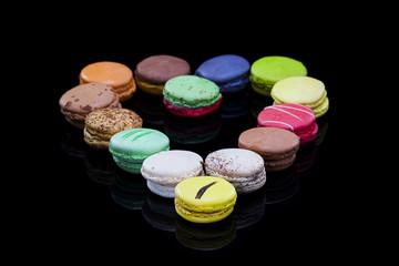 Macaron, fond noir, Confiserie