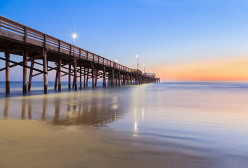 Newport Beach pier after sunset