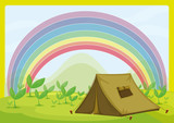 A tent and a rainbow