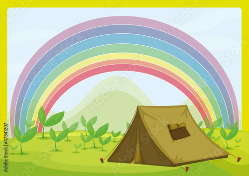 Deurstickers Fantasie Landschap A tent and a rainbow