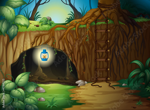 Tuinposter Fantasie Landschap A cave in the jungle