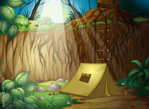 Tuinposter Fantasie Landschap Camping in the jungle