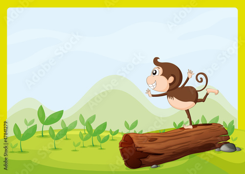 Deurstickers Fantasie Landschap A monkey dancing on wood