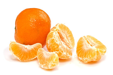 Fresh ripe peeled  mandarines isolated  on white
